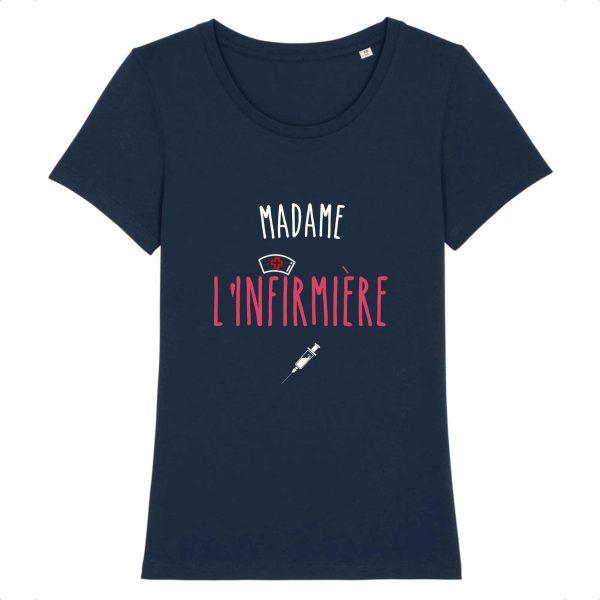 T-shirt Madame l'infirmière bleu marine
