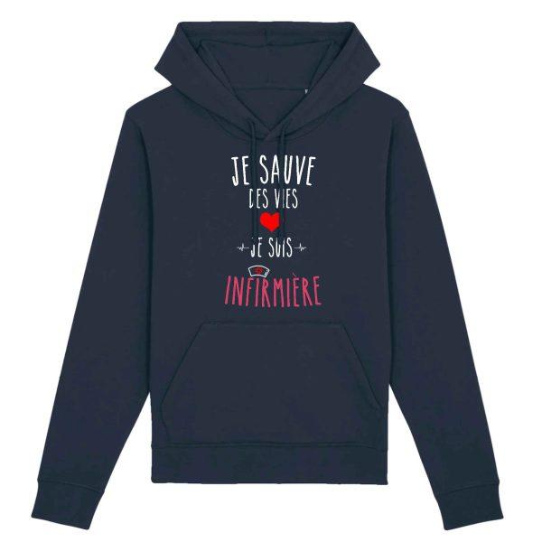Sweat infirmière - Je sauve des vies je suis infirmière bleu marine