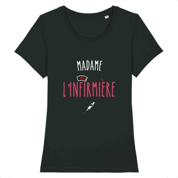 T-shirt Madame l'infirmière noir
