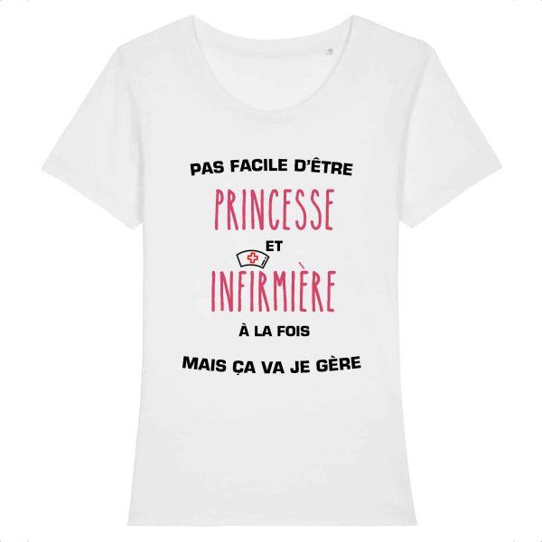 T-shirt infirmière - Pas facile d'être princesse et infirmière à la fois mais ça va je gère_blanc