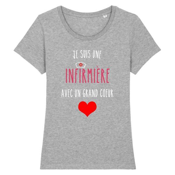 T-shirt infirmière - Je suis une infirmière avec un grand cœur_gris