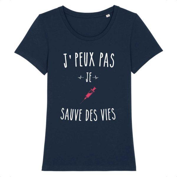 T-shirt infirmière – Je peux pas je sauve des vies_marine