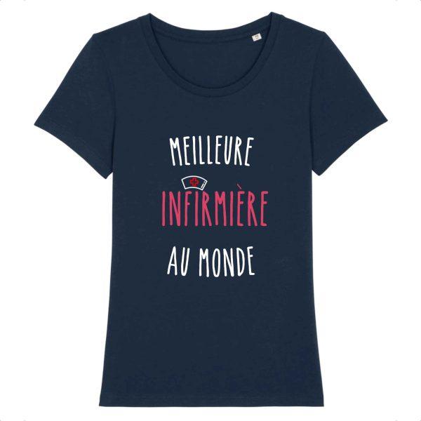 T-shirt infirmière – Meilleure infirmière au monde_marine