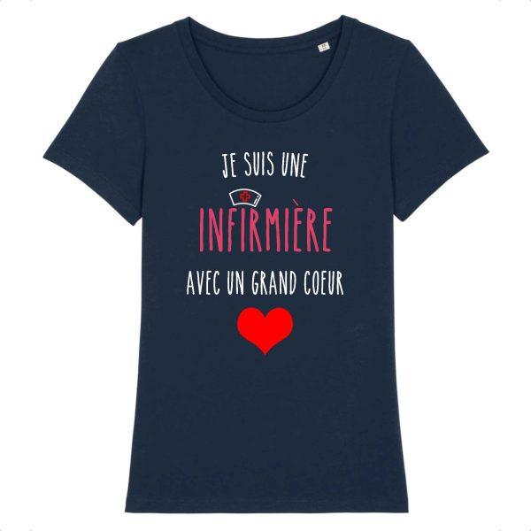 T-shirt infirmière - Je suis une infirmière avec un grand cœur_marine