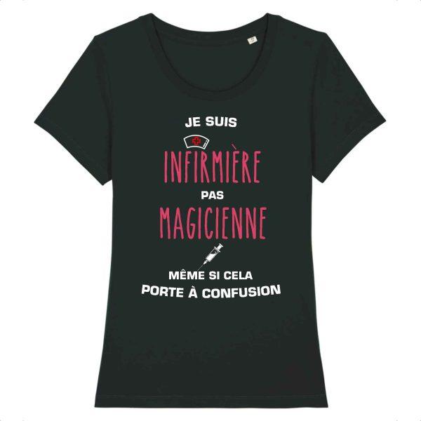T-shirt infirmière - Je suis infirmière pas magicienne, même si cela porte à confusion_noir