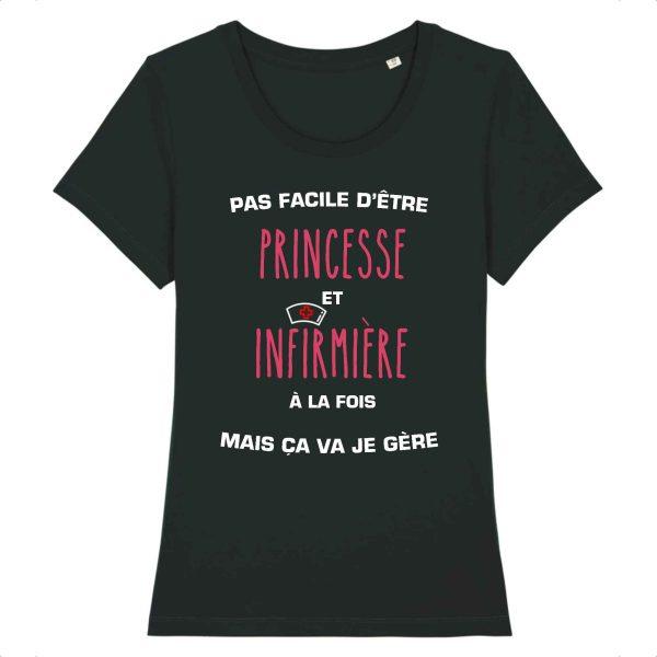 T-shirt infirmière - Pas facile d'être princesse et infirmière à la fois mais ça va je gère_noir