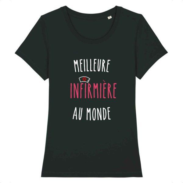 T-shirt infirmière – Meilleure infirmière au monde_noir