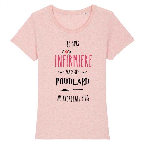 T-shirt Infirmière - Je suis infirmière parce que Poudlard ne recrutait plus_rose