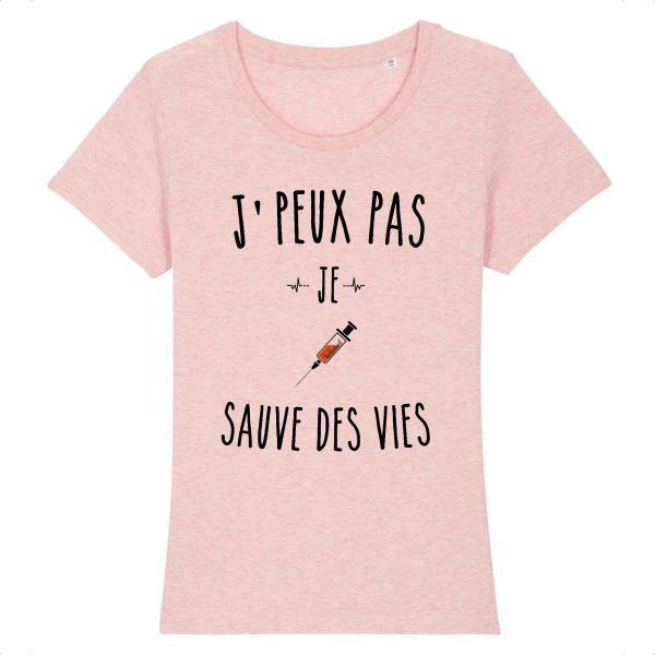 T-shirt infirmière – Je peux pas je sauve des vies_rose