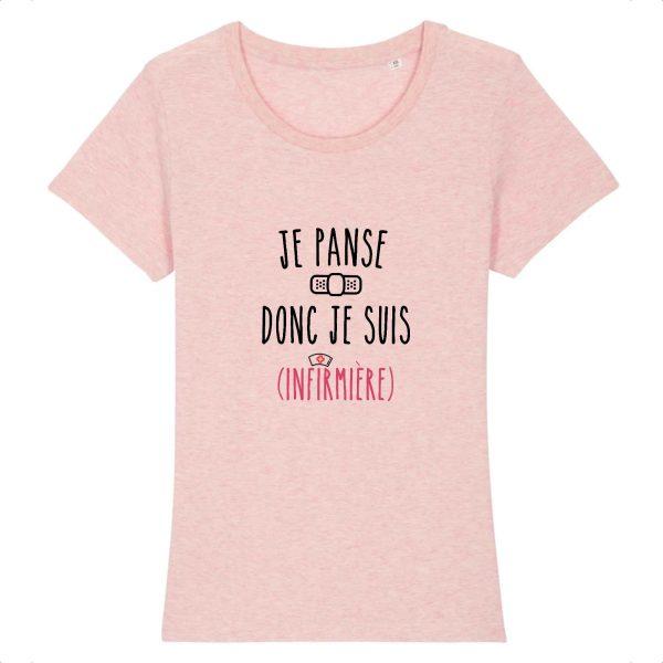 T-shirt infirmière - Je panse donc je suis (infirmière)_rose