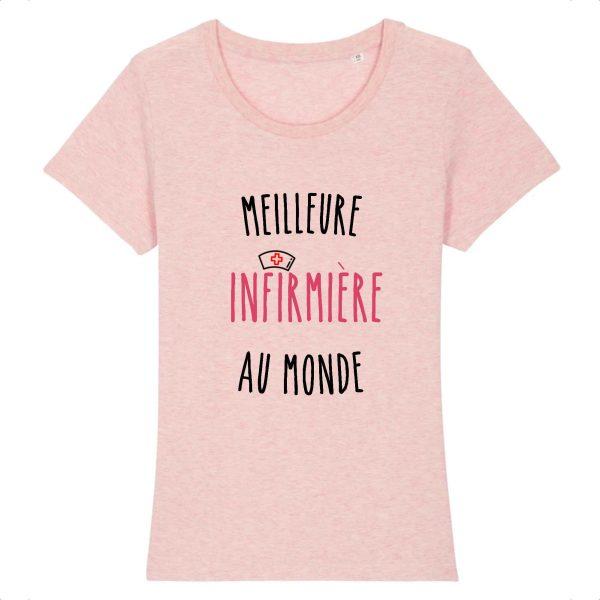 T-shirt infirmière – Meilleure infirmière au monde_rose