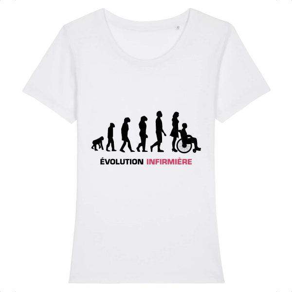 T-shirt infirmière - Infirmière évolution-blanc