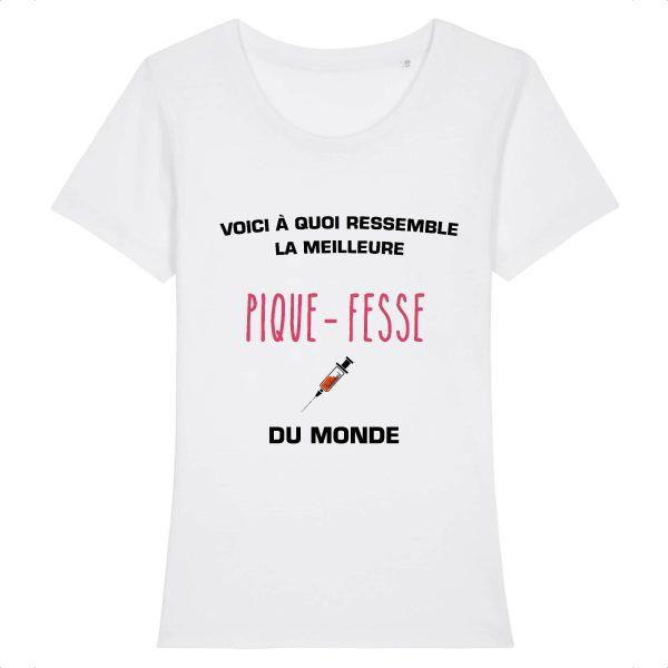 T-shirt infirmière - Voici à quoi ressemble la meilleure pique fesse du monde -blanc