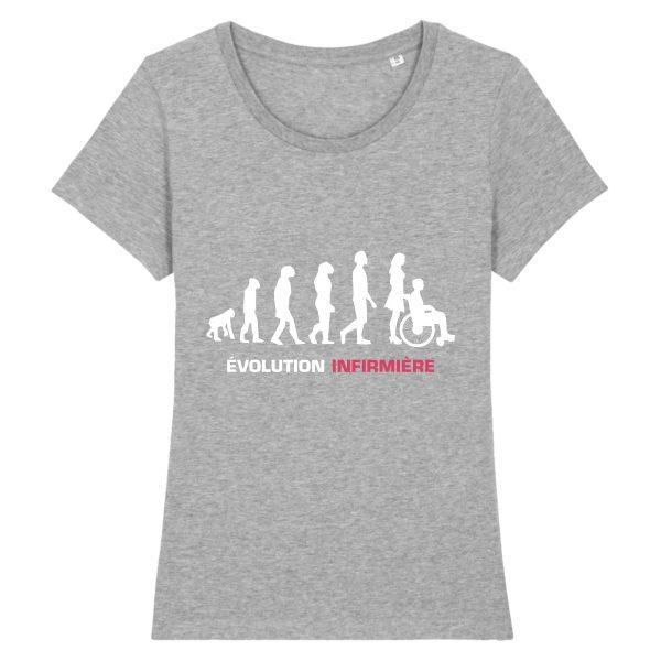T-shirt infirmière - Infirmière évolution-gris