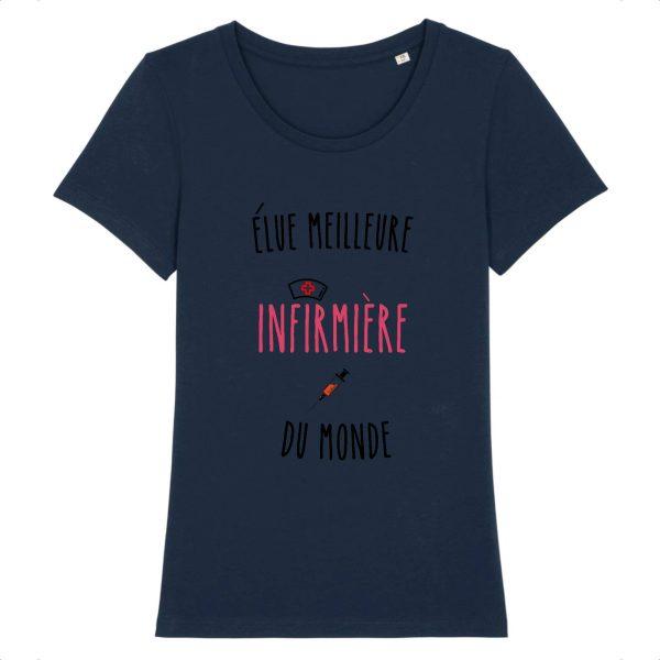 T-shirt infirmière - élue meilleure infirmière du monde-marine