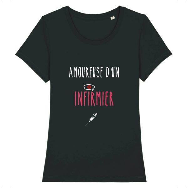 T-shirt infirmière – Amoureuse d'un infirmier-noir