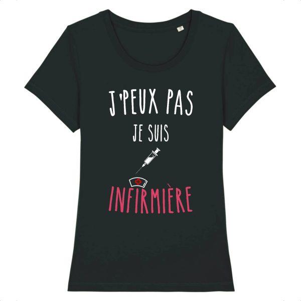T-shirt infirmière – Je peux pas je suis infirmière-noir