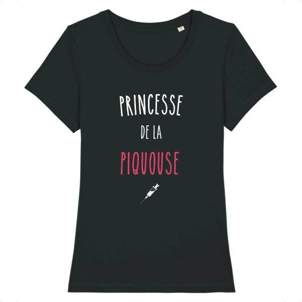 T-shirt infirmière – Princesse de la piquouse-noir