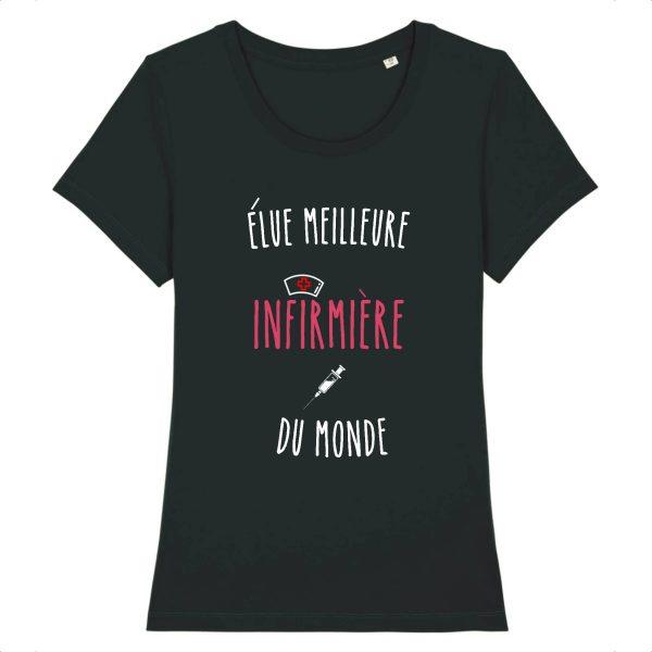 T-shirt infirmière - élue meilleure infirmière du monde-noir