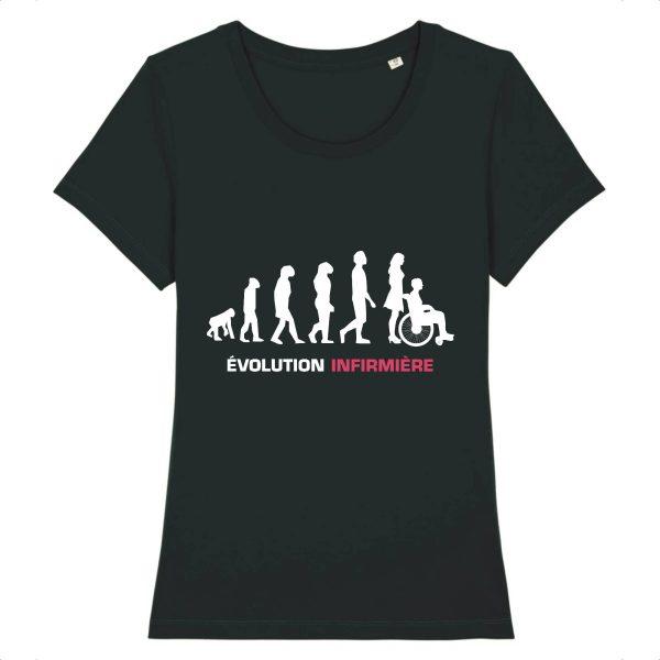 T-shirt infirmière - Infirmière évolution-noir