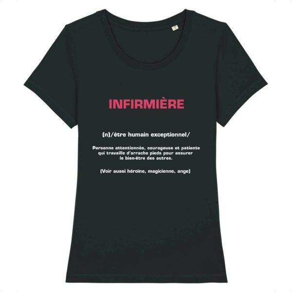 T-shirt infirmière – Infirmière signification-noir