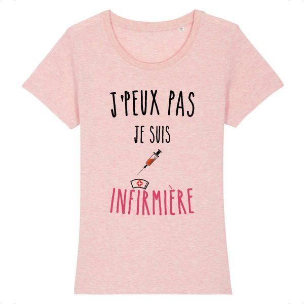 T-shirt infirmière – Je peux pas je suis infirmière-rose