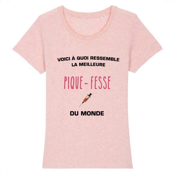 T-shirt infirmière - Voici à quoi ressemble la meilleure pique fesse du monde -rose