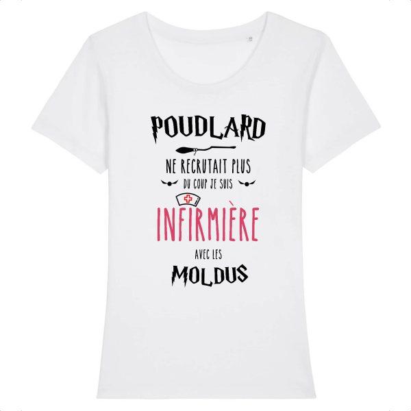 T-shirt infirmière - Poudlard ne recrutait plus du coup je suis infirmière avec les moldus-blanc