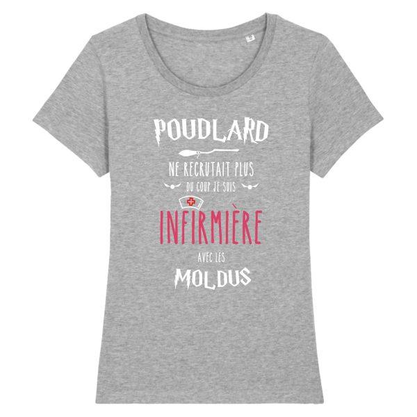 T-shirt infirmière - Poudlard ne recrutait plus du coup je suis infirmière avec les moldus-gris