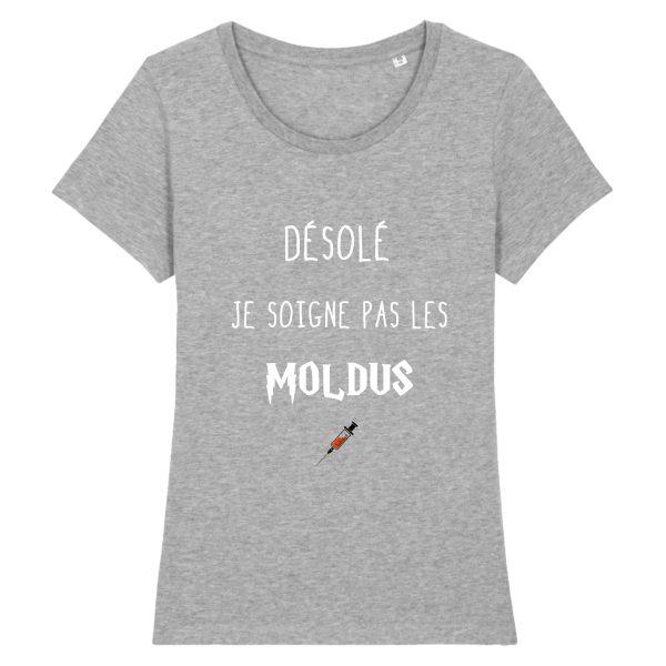 T-shirt infirmière – Désolé je soigne pas les moldus-gris