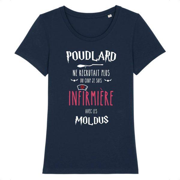 T-shirt infirmière - Poudlard ne recrutait plus du coup je suis infirmière avec les moldus-marine