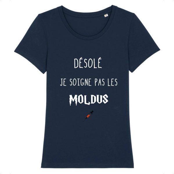 T-shirt infirmière – Désolé je soigne pas les moldus-marine