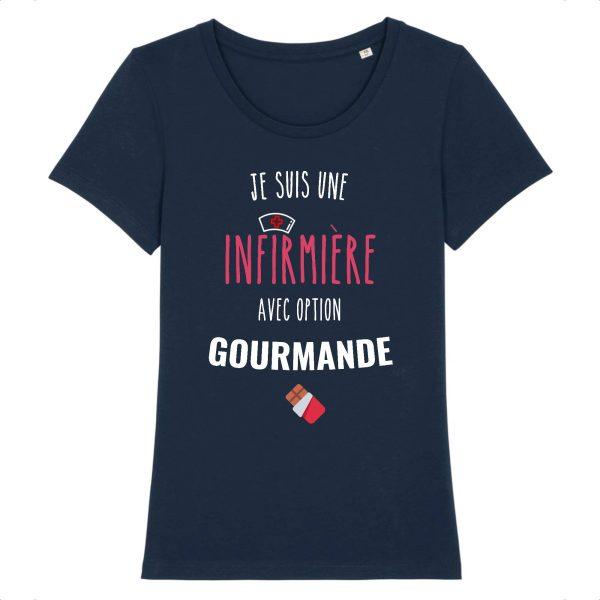 T-shirt infirmière – Infirmière avec option gourmande-marine