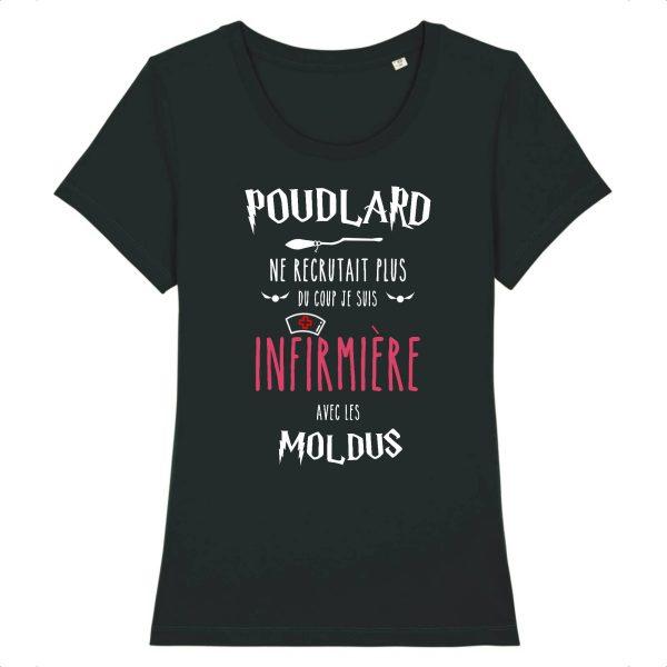 T-shirt infirmière - Poudlard ne recrutait plus du coup je suis infirmière avec les moldus-noir