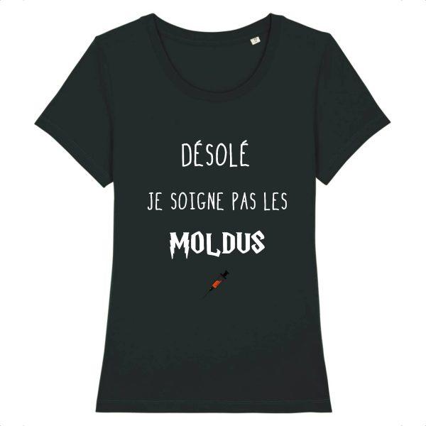 T-shirt infirmière – Désolé je soigne pas les moldus-noir