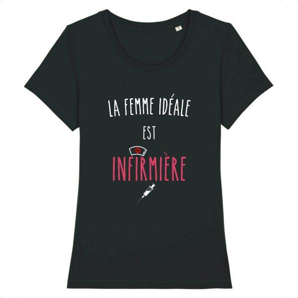 T-shirt infirmière – La femme idéale est infirmière-noir