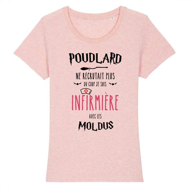 T-shirt infirmière - Poudlard ne recrutait plus du coup je suis infirmière avec les moldus-rose
