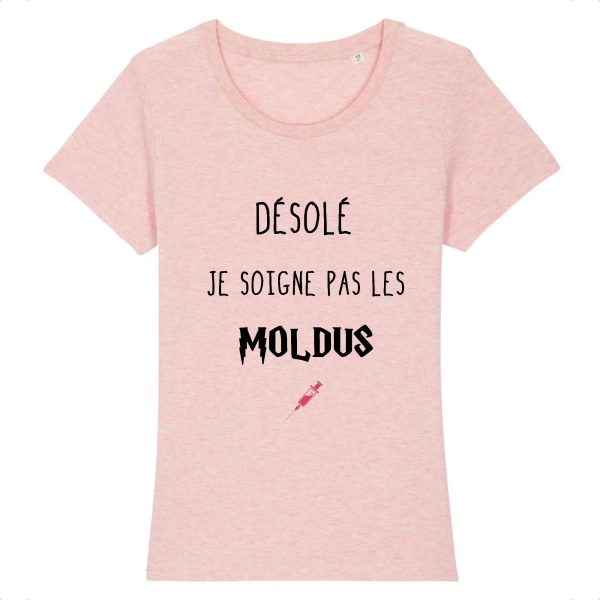 T-shirt infirmière – Désolé je soigne pas les moldus-rose