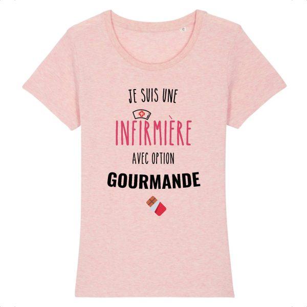 T-shirt infirmière – Infirmière avec option gourmande-rose