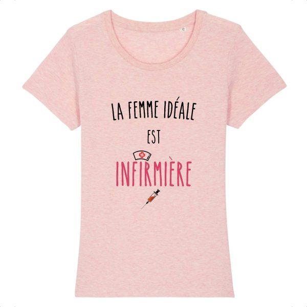T-shirt infirmière – La femme idéale est infirmière-rose