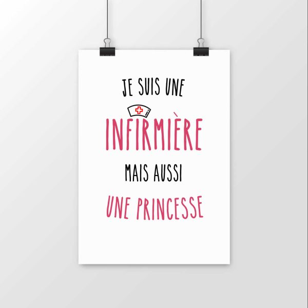 Affiche je suis une infirmière mais aussi une princesse
